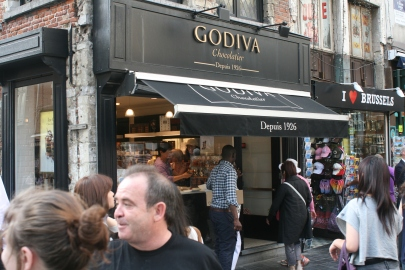 Godiva Chocolatiers are everywhere in Brussels--this one's in Grand Place where it all started, but I am not certain this is the original one