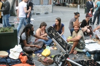 Street artists communing on the streets of Brussels, downtown.