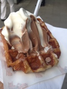 My authentic Belgian Waffle snack with Chocolate and Vanilla custard topping