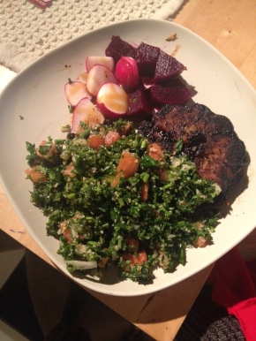 Tabouleh, Red beets, Radishes, Ginger Sesame Dressing (Home made)